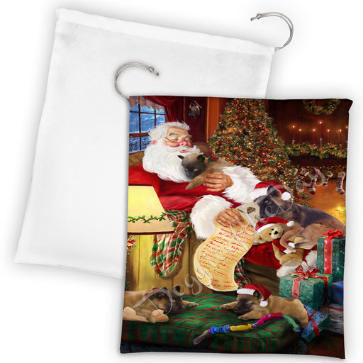 Santa Sleeping with Belgian Tervuren Dogs Drawstring Laundry or Gift Bag LGB48774