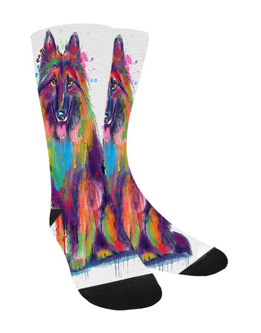 Watercolor Belgian Tervuren Dog Women's Casual Socks
