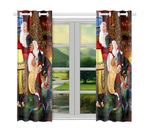 Santa Sleeping with Belgian Shepherd Dogs Window Curtain
