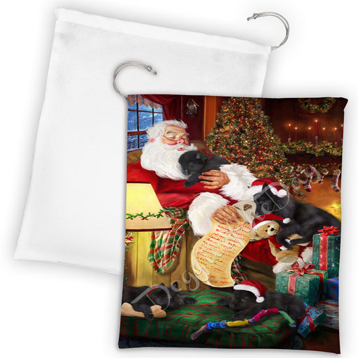 Santa Sleeping with Belgian Shepherd Dogs Drawstring Laundry or Gift Bag LGB48773