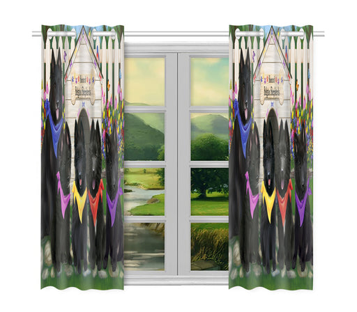 Spring Dog House Belgian Shepherd Dogs Window Curtain