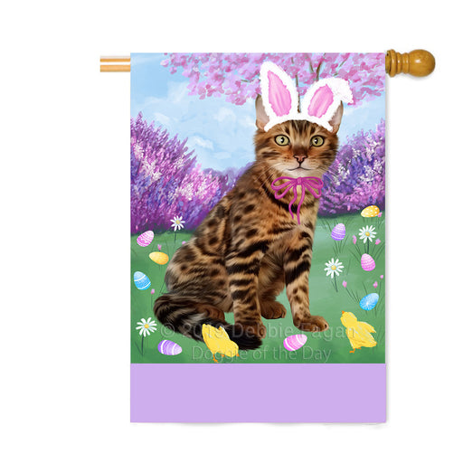 Personalized Easter Holiday Bengal Cat Custom House Flag FLG-DOTD-A58805