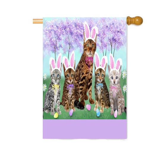 Personalized Easter Holiday Bengal Cats Custom House Flag FLG-DOTD-A58806