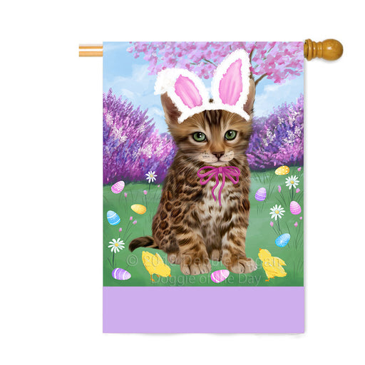 Personalized Easter Holiday Bengal Cat Custom House Flag FLG-DOTD-A58807