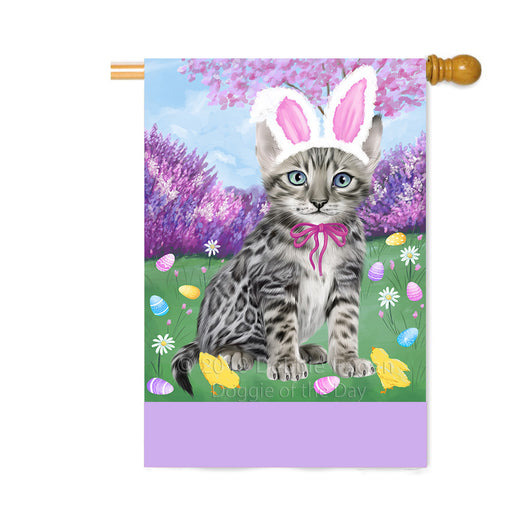 Personalized Easter Holiday Bengal Cat Custom House Flag FLG-DOTD-A58809