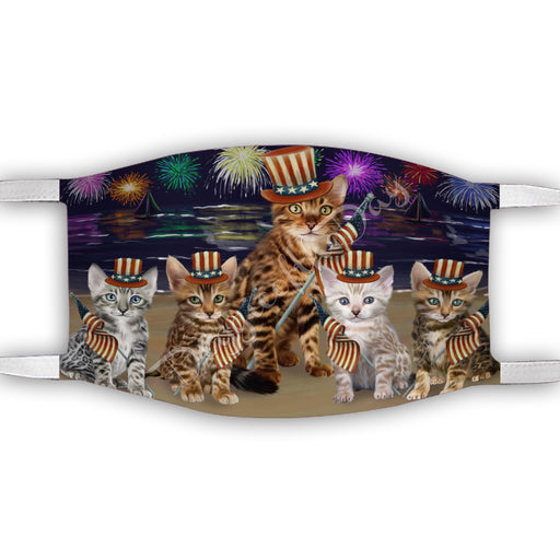 4th of July Independence Day Bengal Cats Face Mask FM49376