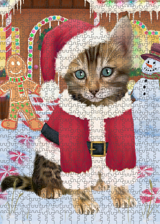 Christmas Gingerbread House Candyfest Bengal Cat Dog Puzzle with Photo Tin PUZL92892