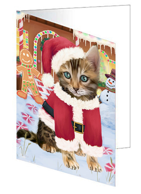 Christmas Gingerbread House Candyfest Bengal Cat Dog Note Card NCD73034