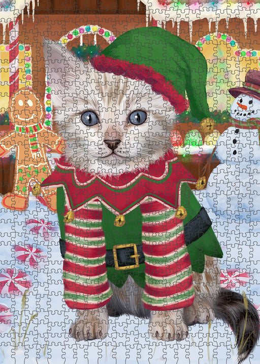 Christmas Gingerbread House Candyfest Bengal Cat Dog Puzzle with Photo Tin PUZL92896
