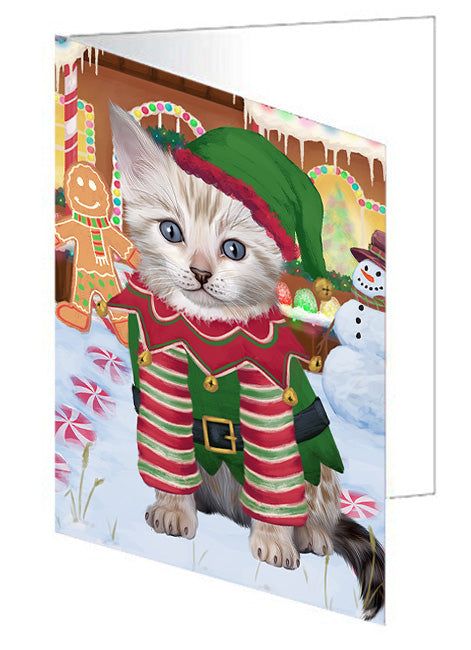Christmas Gingerbread House Candyfest Bengal Cat Dog Note Card NCD73037