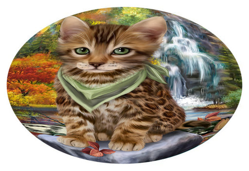 Scenic Waterfall Bengal Cat Oval Envelope Seals OVE63296