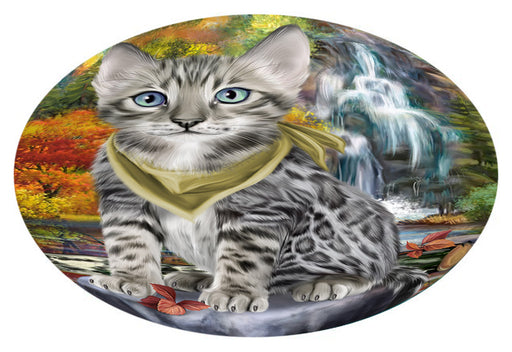 Scenic Waterfall Bengal Cat Oval Envelope Seals OVE63300