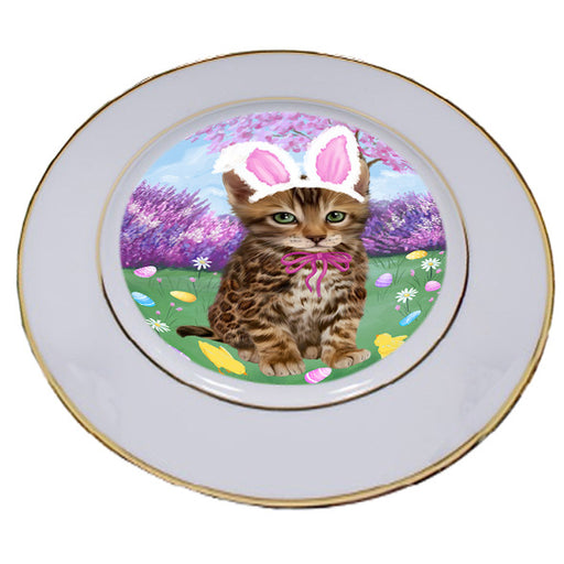 Easter Holiday Bengal Cat Porcelain Plate PLT55269