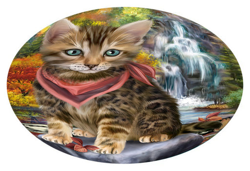 Scenic Waterfall Bengal Cat Oval Envelope Seals OVE63304