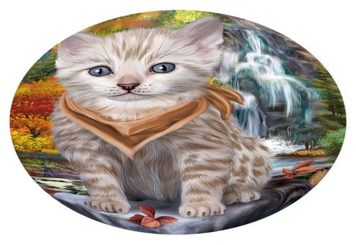 Scenic Waterfall Bengal Cat Oval Envelope Seals OVE63308