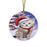 Winterland Wonderland Bengal Cat In Christmas Holiday Scenic Background Round Flat Christmas Ornament RFPOR53726