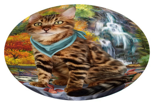 Scenic Waterfall Bengal Cat Oval Envelope Seals OVE63312