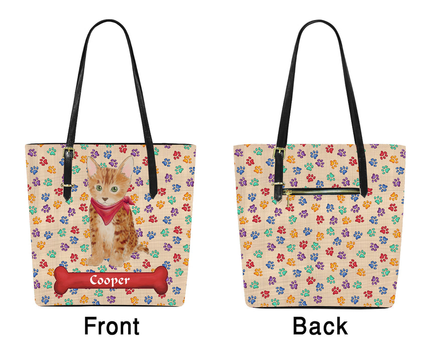 Custom Personalized Red Paw Print Bengal Cat Euramerican Tote Bag