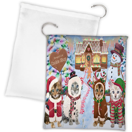 Holiday Gingerbread Cookie Bengal Cats Shop Drawstring Laundry or Gift Bag LGB48569