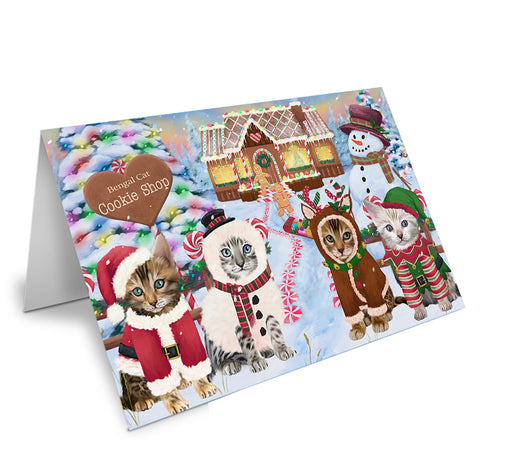 Holiday Gingerbread Cookie Shop Bengal Cats Note Card NCD72827