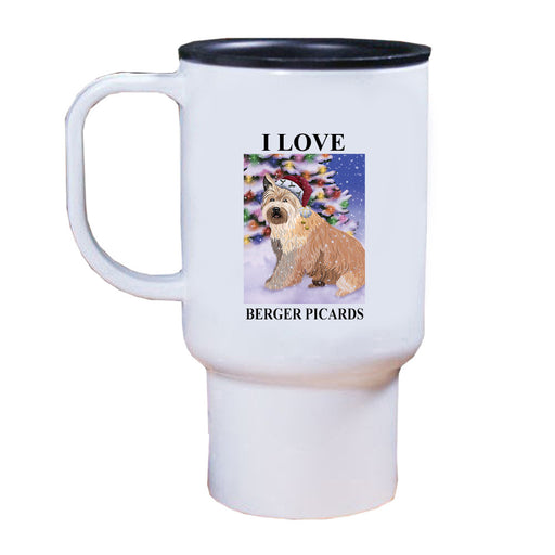 Winterland Wonderland Berger Picard Dog In Christmas Holiday Scenic Background Travel Mug TRAV50919