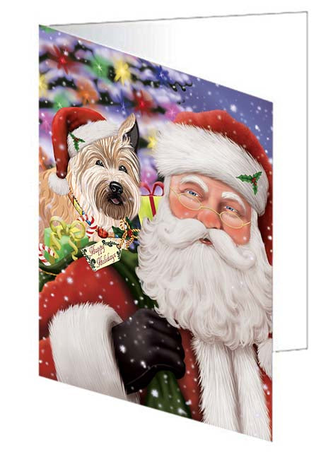 Santa Carrying Berger Picard Dog and Christmas Presents Greeting Card GCD70970