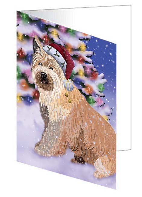 Winterland Wonderland Berger Picard Dog In Christmas Holiday Scenic Background Note Card NCD71567