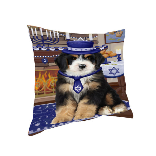 Happy Hanukkah Family and Happy Hanukkah Both Bernedoodle Dog Pillow PIL82996