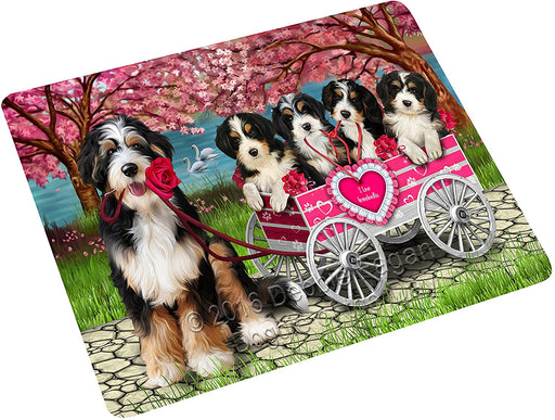 I Love Bernedoodle Dogs in a Cart Large Refrigerator / Dishwasher Magnet D079