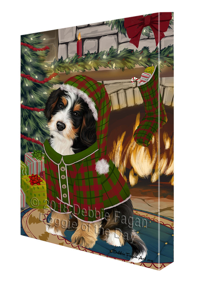 The Stocking was Hung Bernedoodle Dog Canvas Print Wall Art Décor CVS116774
