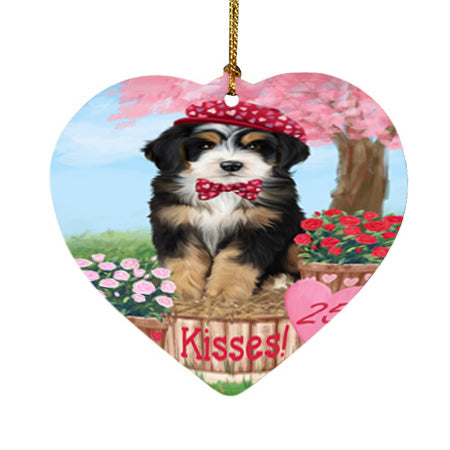 Rosie 25 Cent Kisses Bernedoodle Dog Heart Christmas Ornament HPOR56176