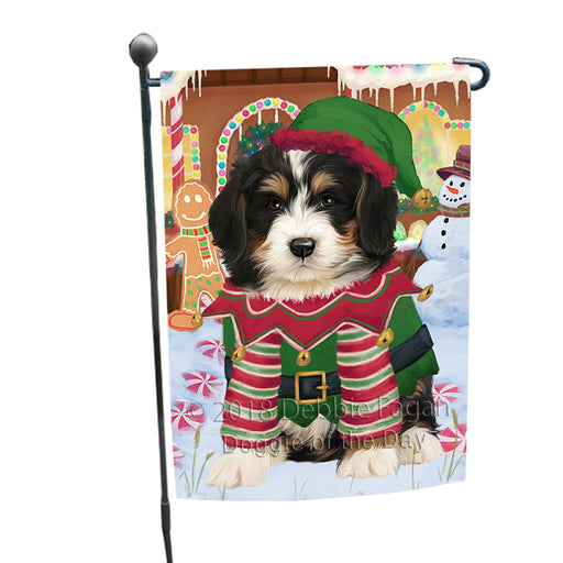 Christmas Gingerbread House Candyfest Bernedoodle Dog Garden Flag GFLG56726