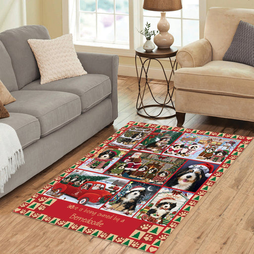 Love is Being Owned Christmas Bernedoodle Dogs Area Rug