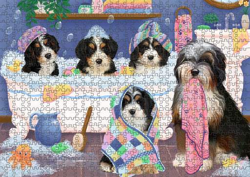 Rub A Dub Dogs In A Tub Bernedoodles Dog Puzzle with Photo Tin PUZL95252