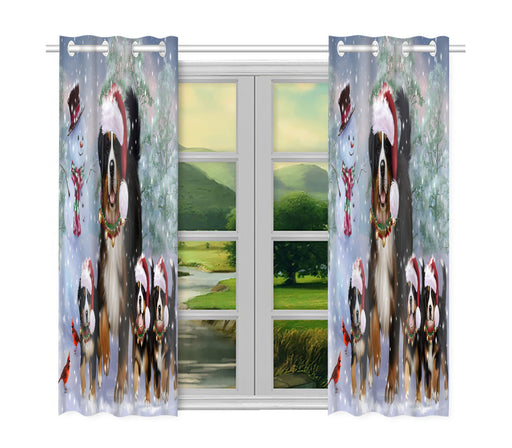 Christmas Running Fammily Bernese Mountain Dogs Window Curtain