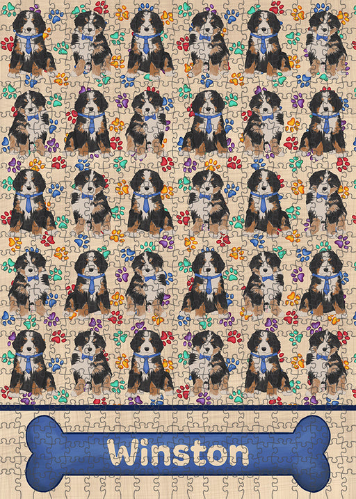 Rainbow Paw Print Bernese Mountain Dogs Puzzle with Photo Tin PUZL97568