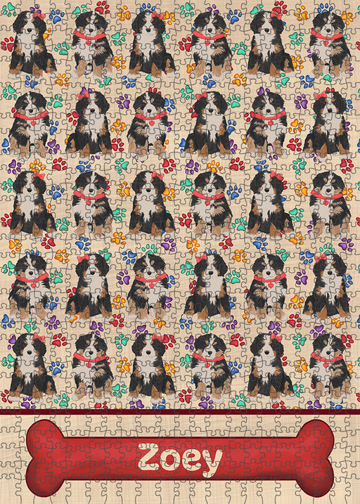 Rainbow Paw Print Bernese Mountain Dogs Puzzle with Photo Tin PUZL97572
