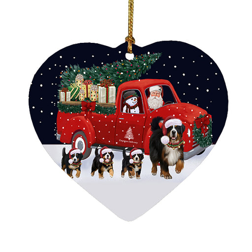 Christmas Express Delivery Red Truck Running Bernese Mountain Dogs Heart Christmas Ornament RFPOR58069