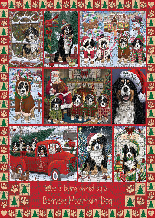Love is Being Owned Christmas Bernese Mountain Dogs Puzzle with Photo Tin PUZL99276