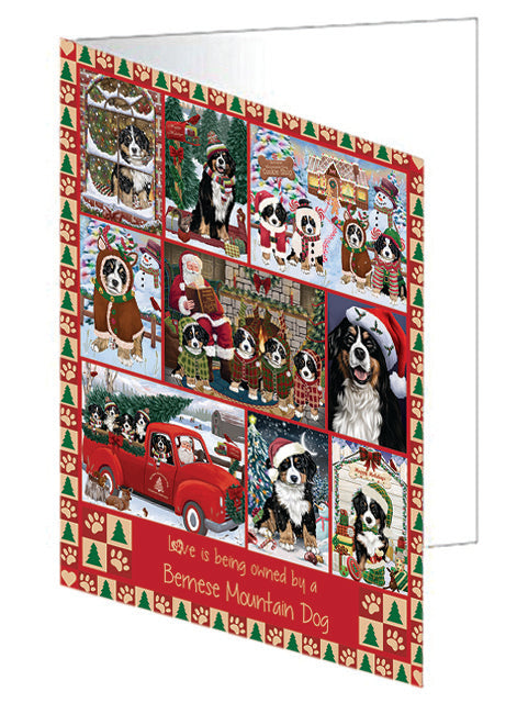 Love is Being Owned Christmas Bernese Mountain Dogs Greeting Card GCD78827