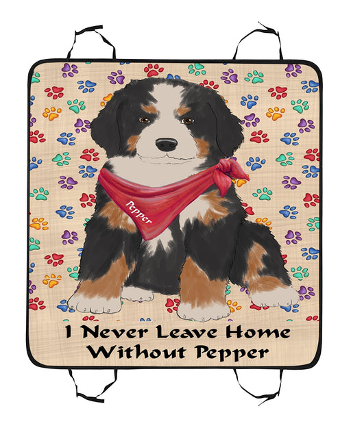 Personalized I Never Leave Home Paw Print Bernese Mountain Dogs Pet Back Car Seat Cover