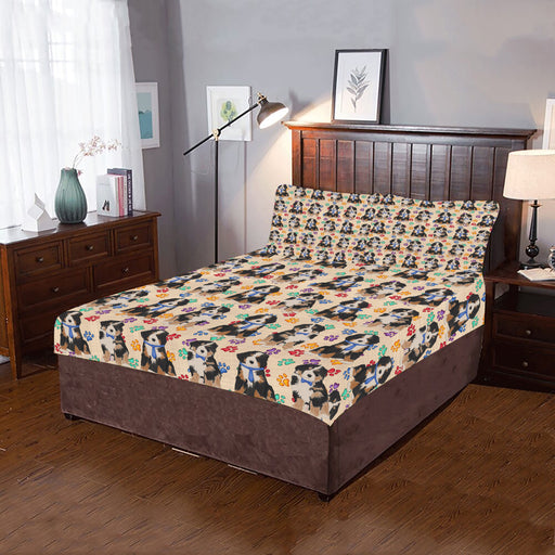 Rainbow Paw Print Bernese Mountain Dogs Blue 3-Piece Bedding Set