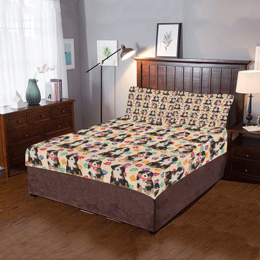 Rainbow Paw Print Bernese Mountain Dogs Red 3-Piece Bedding Set
