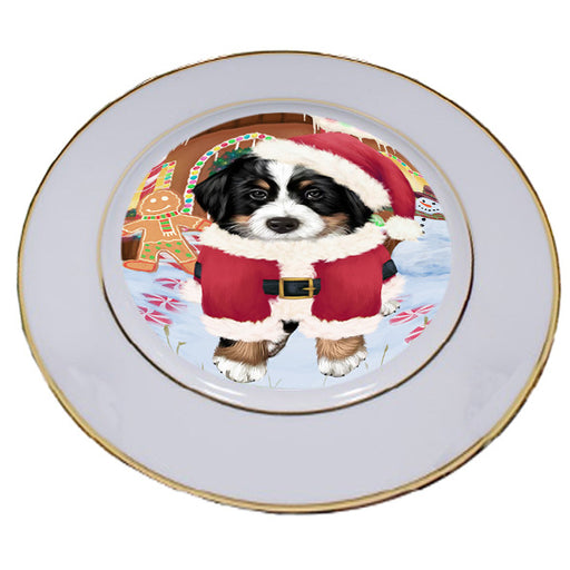 Christmas Gingerbread House Candyfest Bernese Mountain Dog Porcelain Plate PLT54528
