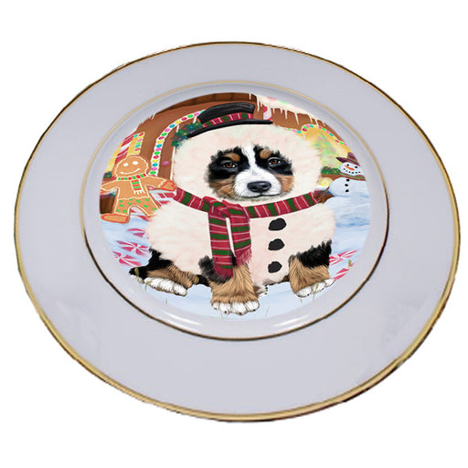 Christmas Gingerbread House Candyfest Bernese Mountain Dog Porcelain Plate PLT54529