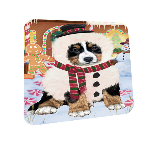 Christmas Gingerbread House Candyfest Bernese Mountain Dog Coasters Set of 4 CST56138