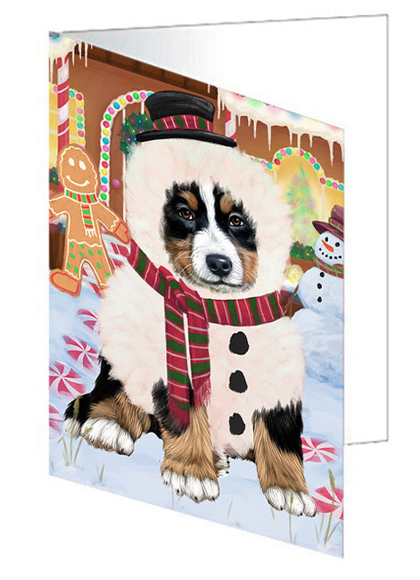 Christmas Gingerbread House Candyfest Bernese Mountain Dog Greeting Card GCD73055