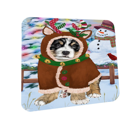 Christmas Gingerbread House Candyfest Bernese Mountain Dog Coasters Set of 4 CST56139