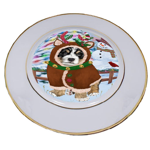 Christmas Gingerbread House Candyfest Bernese Mountain Dog Porcelain Plate PLT54530