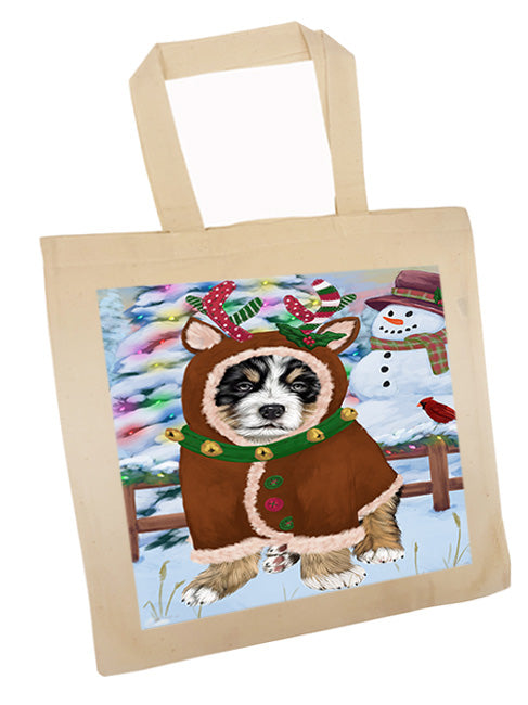 Christmas Gingerbread House Candyfest Bernese Mountain Dog Tote TTE56181